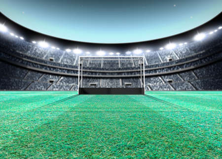 A generic seated lawn hockey stadium with a netted goal on a green grass pitch at night under illuminated floodlights - 3D render