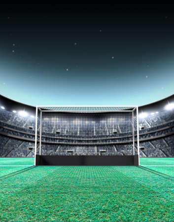 hockey cesped: A generic seated lawn hockey stadium with a netted goal on a green grass pitch at night under illuminated floodlights - 3D render
