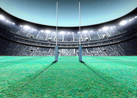uprights: A generic seated rugby stadium showing a set of padded goal posts on a green grass pitch at night under illuminated floodlights - 3D render