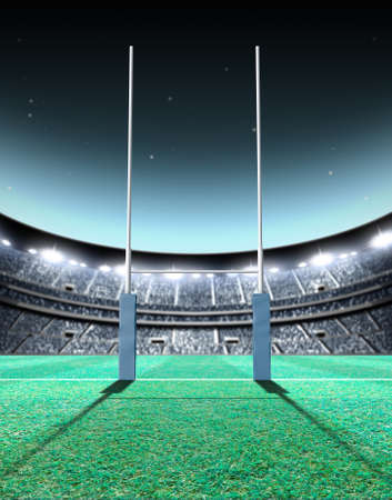 to post: A generic seated rugby stadium showing a set of padded goal posts on a green grass pitch at night under illuminated floodlights - 3D render