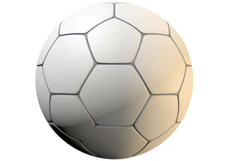 inlays: A closeup concept of a white synthetic soccer ball in a traditional shape with a dimple textured surface and dark grey inlays - 3D render