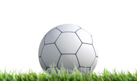 A low upward view of a regular textured synthetic soccer ball resting on green grass on an isolated white background - 3D render