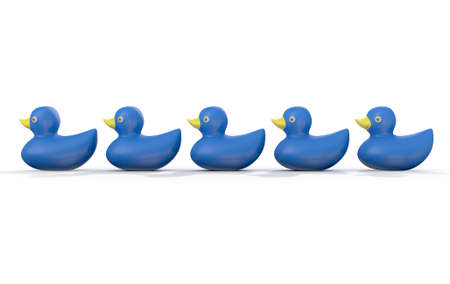 organise: A row of organised and ready blue rubber bath duck toys on an isolated background - 3D render Stock Photo