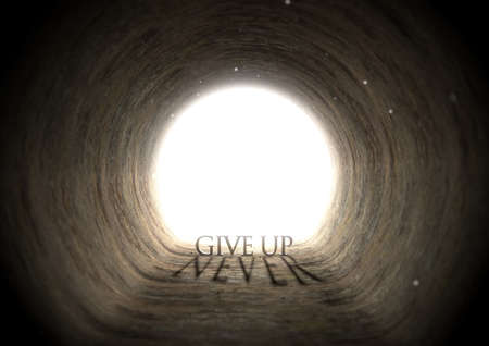 ambiguous: A concept look down a dark tunnel with a bright light at the end highlighting the words give up yet casting a shadow that reads never - 3D render