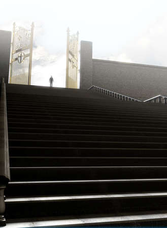 A concept depicting a person standing at the top of a staircase towards the open gates leading to heaven  - 3D render