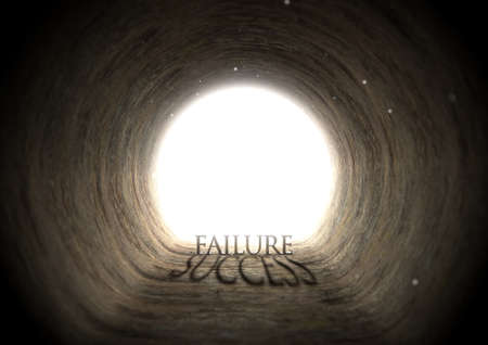ambiguous: A concept look down a dark tunnel with a bright light at the end highlighting the word failure yet casting a shadow that reads success - 3D render