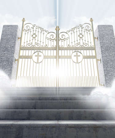 emanate: A concept depicting the majestic pearly gates of heaven surrounded by clouds and the staircase leading up to them - 3D render