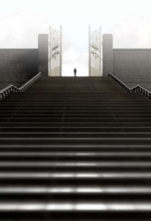 life after death: A concept depicting a person standing at the top of a staircase towards the open gates leading to heaven  - 3D render