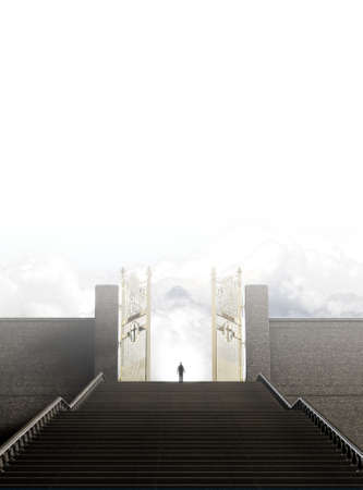 emanate: A concept depicting a person standing at the top of a staircase towards the open gates leading to heaven  - 3D render