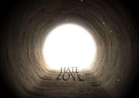 deceptive: A concept look down a dark tunnel with a bright light at the end highlighting the word hate yet casting a shadow that reads love - 3D render