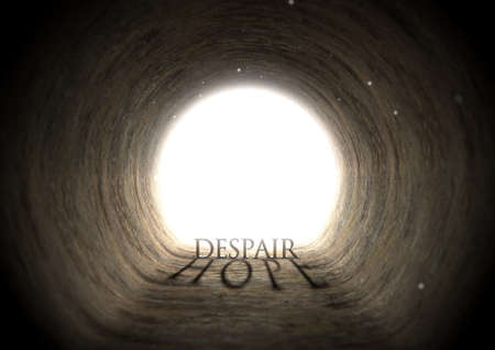 deceptive: A concept look down a dark tunnel with a bright light at the end highlighting the word despair yet casting a shadow that reads hope - 3D render Stock Photo