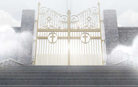 afterlife: A concept depicting the majestic pearly gates of heaven surrounded by clouds and the staircase leading up to them - 3D render