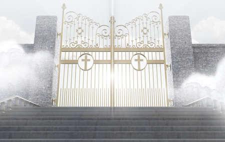 portones: Un concepto que representa las majestuosas puertas de perla del cielo rodeado por las nubes y la escalera que conduce a ellas - 3D Foto de archivo