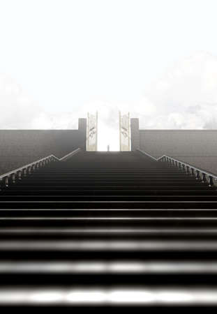 pearly gates: A concept depicting a person standing at the top of a staircase towards the open gates leading to heaven  - 3D render