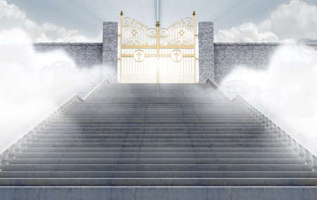 kingdom of heaven: A concept depicting the majestic pearly gates of heaven surrounded by clouds and the staircase leading up to them - 3D render