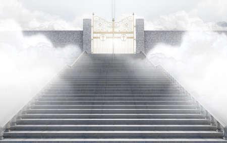 Un concepto que representa las majestuosas puertas de perla del cielo rodeado por las nubes y la escalera que conduce a ellas - 3D Foto de archivo - 72344003