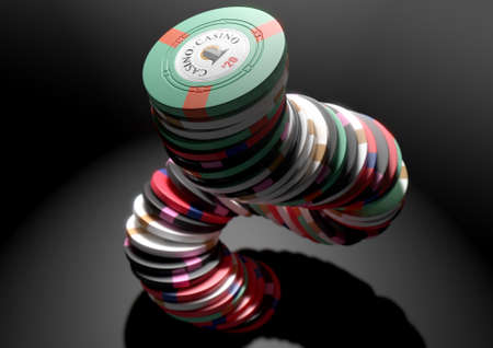 A falling stack of various values of casino chips on an isolated black studio background - 3D render Stock Photo