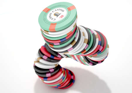 A falling stack of various values of casino chips on an isolated white studio background - 3D render