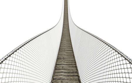 A curved rope bridge made of wooden planks with wire sides on an isolated white background - 3D render