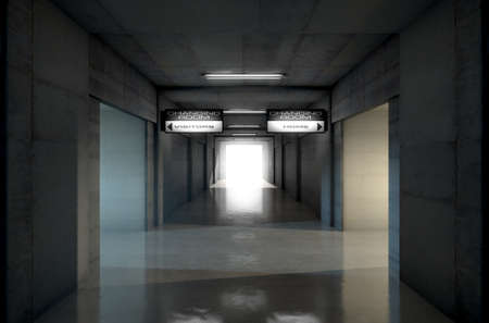 cement wall: Looking down a dark stadium sports tunnel towards the illumintaed arena with change rooms and signs for the home and visiting team - 3D render