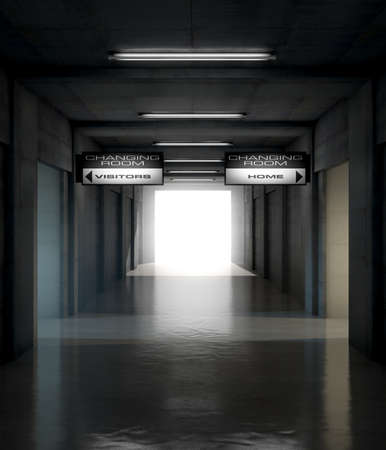 corridors: Looking down a dark stadium sports tunnel towards the illumintaed arena with change rooms and signs for the home and visiting team - 3D render