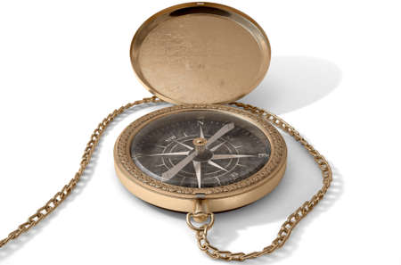 A closeup of an intricate vintage pocket compass with an open lid and a chain attached - 3D render Stock Photo