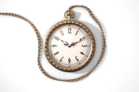 embellished: A closeup of an intricate gold antique pocket watch attached to a chain on an isolated white studio background - 3D render