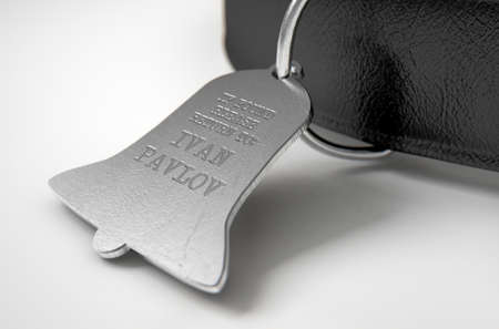 bell shaped: A concept depicting pavlovian conditioning theory of a leather dog collar and a bell shaped identification tag showing ownership to ivan pavlov - 3D render