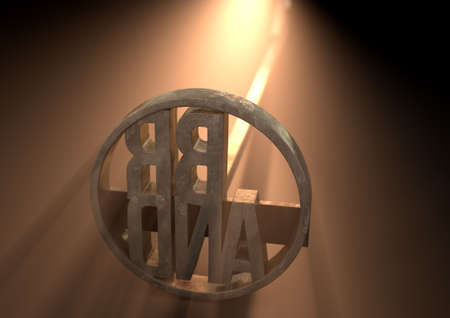 proprietary: A metal cattle branding iron with the word brand as the marking area backlit by a bright light - 3D render