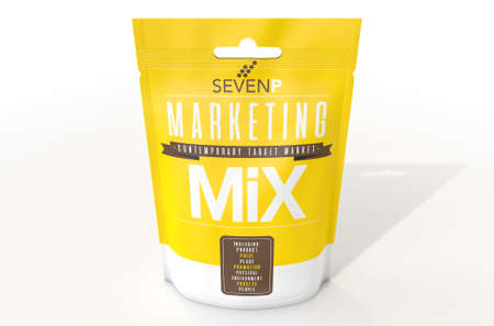 A perishable package of a concept product called Marketing Mix thats made up of the seven P ingredients of product price place promotion environment process and people - 3D render