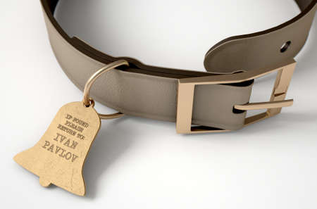 A concept depicting pavlovian conditioning theory of a leather dog collar and a bell shaped identification tag showing ownership to ivan pavlov - 3D render