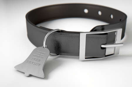 collarin: A concept depicting pavlovian conditioning theory of a leather dog collar and a bell shaped identification tag showing ownership to ivan pavlov - 3D render