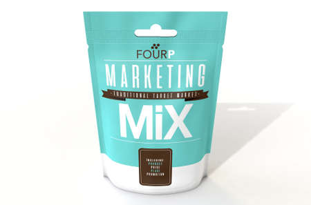 A perishable package of a concept product called Marketing Mix thats made up of the four P ingredients of product price place and promotion - 3D render Stock Photo
