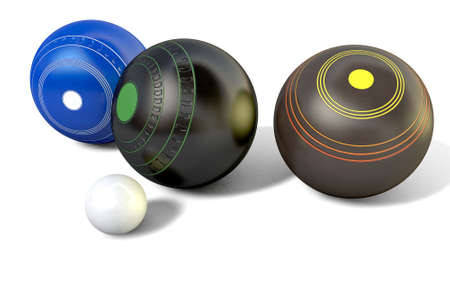 biased: Three different designs of lawn bowling balls surrounding a white jack on an isolated white studio background - 3D render