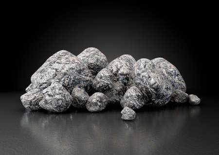 Mineral: A collection of iron ore nuggets on an isolated white studio background - 3D render