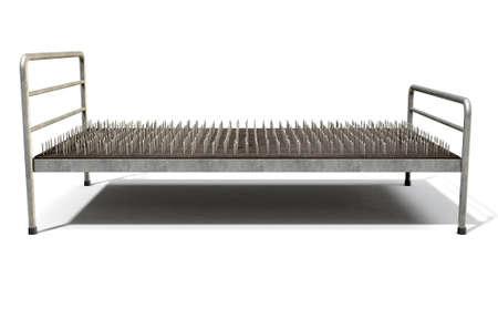 격리 된 흰색 스튜디오 배경 -3D 렌더링에 금속 프레임 손톱의 리터럴 침대를 보여주는 유 스톡 콘텐츠