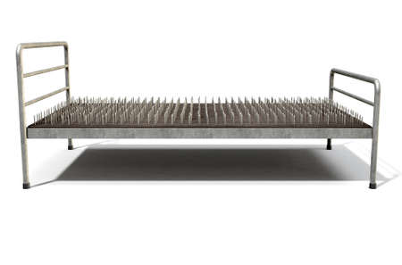 A metaphor showing a literal bed of nails with a metal frame on an isolated white studio background - 3D Render