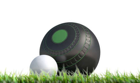 A wooden lawn bowling ball next to a white jack in the grass on an isolated white background - 3D render