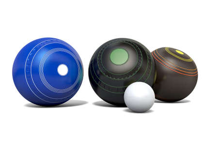 Three different designs of lawn bowling balls surrounding a white jack on an isolated white studio background - 3D render Stok Fotoğraf - 75099688
