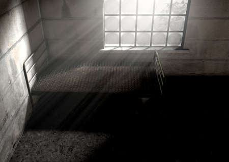 A metaphor showing a literal bed of nails in a dimly lit run down room with a dramatic morning light penetrating through the window - 3D Render