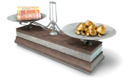 collate: An old metal and wood two pan balance scale comparing a pile of south african rand notes and a pile of gold nuggets on an isolated white background - 3D Render
