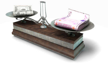 collate: An old metal and wood two pan balance scale comparing a pile of dollar bills and a pile of european euro notes on an isolated white background - 3D Render