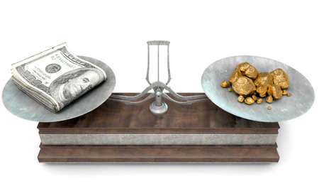 An old metal and wood two pan balance scale comparing a pile of dollar notes and a pile of gold nuggets on an isolated white background - 3D Render Stock Photo