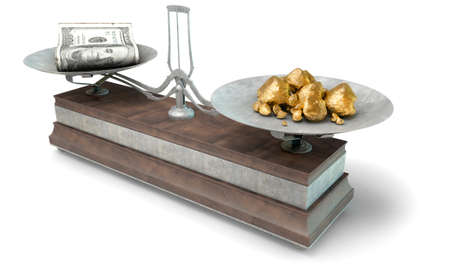 collate: An old metal and wood two pan balance scale comparing a pile of dollar notes and a pile of gold nuggets on an isolated white background - 3D Render Stock Photo