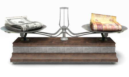 collate: An old metal and wood two pan balance scale comparing a pile of dollar bills and a pile of south african rand on an isolated white background - 3D Render Stock Photo