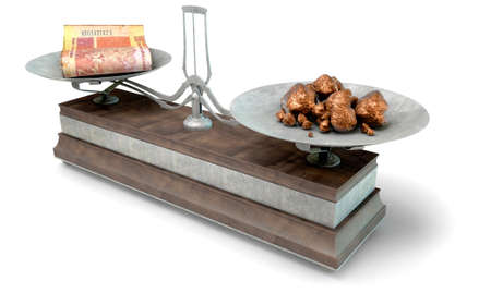 collate: An old metal and wood two pan balance scale comparing a pile of south african rand notes and a pile of copper nuggets on an isolated white background - 3D Render