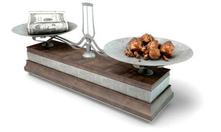 collate: An old metal and wood two pan balance scale comparing a pile of dollar notes and a pile of copper nuggets on an isolated white background - 3D Render Stock Photo