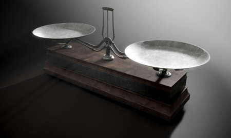 collate: A closeup of empty old metal and wood two pan balance scale on a dramatic dark background - 3D Render