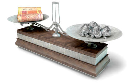 collate: An old metal and wood two pan balance scale comparing a pile of south african rand notes and a pile of platinum nuggets on an isolated white background - 3D Render