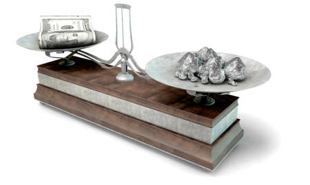collate: An old metal and wood two pan balance scale comparing a pile of dollar notes and a pile of platinum nuggets on an isolated white background - 3D Render